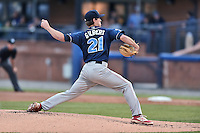 Lakewood BlueClaws starting pitcher Tyler Gilbert (21) delivers a pitch during a game against the Asheville Tourists at McCormick Field on May 4, 2016 in Asheville, North Carolina. The Tourists defeated the BlueClaws 2-0. (Tony Farlow/Four Seam Images)