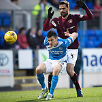 St Johnstone v Hearts…05.04.17     SPFL    McDiarmid Park<br />Graham Cummins holds off Alexandros Tziolis<br />Picture by Graeme Hart.<br />Copyright Perthshire Picture Agency<br />Tel: 01738 623350  Mobile: 07990 594431