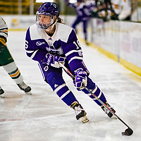 2 February 2020: Holy CrossCrusader Defender Emma Lange, a Sophomore from Cheshire, CT, in first period action against the University of Vermont Catamounts at Gutterson Fieldhouse in Burlington, Vermont. The Lady Cats rallied in the 3rd period to tie the Crusaders 2-2 in NCAA Women's Hockey East play. Mandatory Credit: Ed Wolfstein Photo *** RAW (NEF) Image File Available ***
