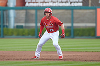 Springfield Cardinals Nolan Gorman (26) leads off first base during a game against the Arkansas Travelers on June 8, 2021 at Hammons Field in Springfield, Missouri.  (Travis Berg/Four Seam Images)