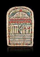 Ancient Egyptian stele dedicated to Re-Harakhty by Irtiertjay,  Late Period, 25th Dynasty, (7620-580 BC), Thebes, Cat 1530. Egyptian Museum, Turin. black background,<br /> <br /> The round topped stele dedicated by Irtiertjay to Re-Harakhty , Isis and the 4 sons of Horus. Gifted by the Cairo Museum