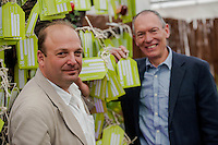 Tuesday 27 May 2014, Hay on Wye, UK<br /> Pictured: ( L-R )  National Trust Director for Wales, Justin Albert and  AM John Griffiths stand in front of the National Trust's Memory Tree<br /> Re: The Hay Festival, Hay on Wye, Powys, Wales UK.