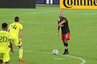 NASHVILLE, TN - SEPTEMBER 23: Federico Higuain #2 of DC United stands over the ball during a game between D.C. United and Nashville SC at Nissan Stadium on September 23, 2020 in Nashville, Tennessee.