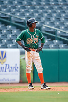 Greensboro Grasshoppers second baseman Jose Devers (2) leads off third base during a game against the Lakewood BlueClaws on June 10, 2018 at First National Bank Field in Greensboro, North Carolina.  Lakewood defeated Greensboro 2-0.  (Mike Janes/Four Seam Images)
