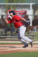Boston Red Sox minor league first baseman Miles Head (20) during a game vs. the Minnesota Twins in an Instructional League game at Lee County Sports Complex in Fort Myers, Florida;  October 1, 2010.  Photo By Mike Janes/Four Seam Images