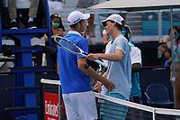 4th April 2021; Miami Gardens, Miami, Florida, USA;  Hubert Hurkacz (POL), left, wins the men's finals, playing Yannik Sinner (ITA), of the Miami Open on April 4, 2021, at Hard Rock Stadium in Miami Gardens, Florida