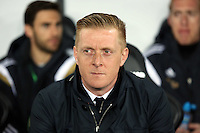 SWANSEA, WALES - MARCH 16: Swansea manager Garry Monk watches on from the dugout prior to the Premier League match between Swansea City and Liverpool at the Liberty Stadium on March 16, 2015 in Swansea, Wales