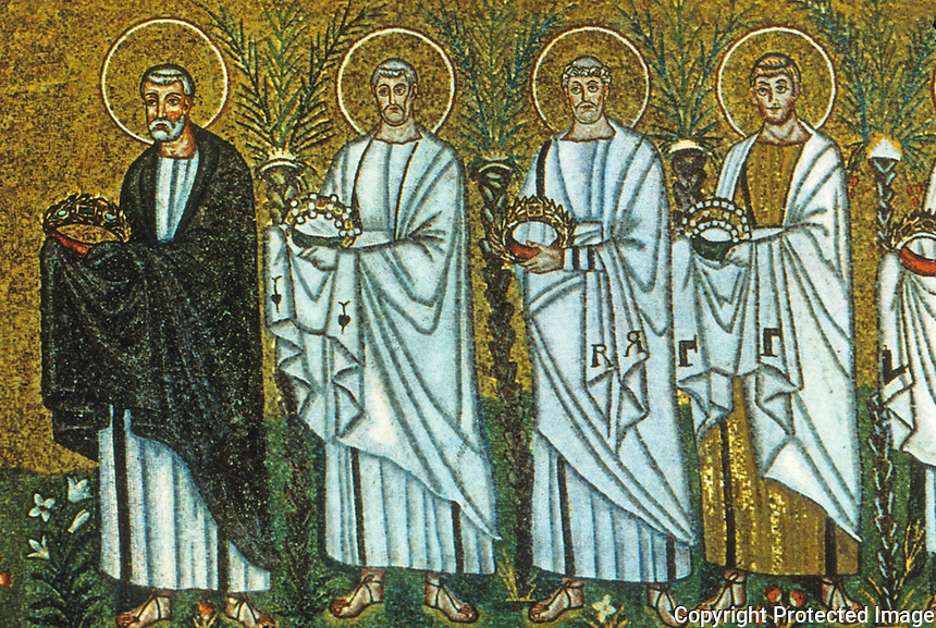 Ravenna: Mosaic--Procession of Martyrs, 6th century. Basilica of Nuovo Sant'Apollinare.