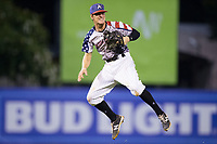 Kannapolis Intimidators third baseman Zach Remillard (8) leaps in the air after making a throw to first base during the game against the Delmarva Shorebirds at Kannapolis Intimidators Stadium on July 3, 2017 in Kannapolis, North Carolina.  The Shorebirds defeated the Intimidators 5-2.  (Brian Westerholt/Four Seam Images)