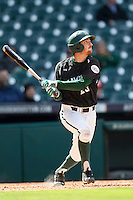 Hawaii Rainbow Warriors shortstop Jacob Sheldon-Collins (25) follows through on his swing during Houston College Classic against the Baylor Bears on March 6, 2015 at Minute Maid Park in Houston, Texas. Hawaii defeated Baylor 2-1. (Andrew Woolley/Four Seam Images)