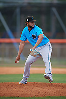 Miami Marlins pitcher Jeremy Ovalle (96) during a Minor League Extended Spring Training game against the New York Mets on April 12, 2019 at First Data Field Complex in St. Lucie, Florida.  (Mike Janes/Four Seam Images)