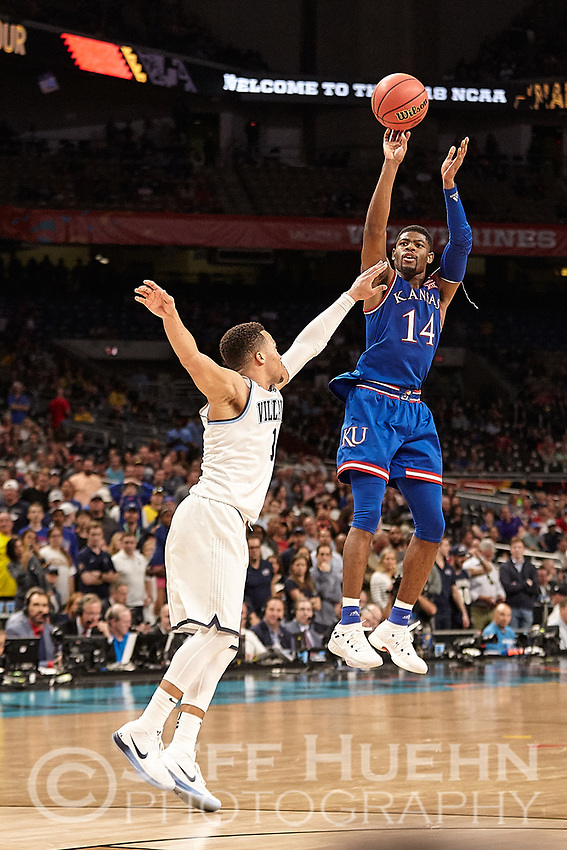 SAN ANTONIO, TX - MARCH 31, 2018: The Villanova University Wildcats defeat the Kansas University Jayhawks 95-79 in the second Semi-Final of the NCAA Men's Basketball Final Four at the Alamodome. (Photo by Jeff Huehn)