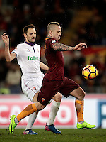 Calcio, Serie A: Roma, Stadio Olimpico, 7 febbraio 2017.<br /> Roma's Radja Nainggolan prepares to score during the Italian Serie A football match between AS Roma and Fiorentina at Roma's Olympic Stadium, on February 7, 2017.<br /> UPDATE IMAGES PRESS/Isabella Bonotto