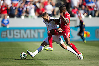 Carson, CA - Sunday, February 8, 2015 Clint Dempsey (8) of the USMNT holds off Harold Cummings (3) of Panama. The USMNT takes a 2-0 lead into halftime over Panama at the StubHub Center.