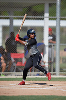 Cameron McDuffy (23) during the WWBA World Championship at JetBlue Park on October 10, 2020 in Fort Myers, Florida.  Cameron McDuffy, a resident of Cooper City, Florida who attends Charles W. Flanagan High School.  (Mike Janes/Four Seam Images)