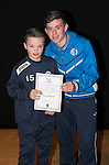 St Johnstone FC Academy Awards Night...06.04.15  Perth Concert Hall<br /> Craig Thomson presents a certificate to Jay Crawford<br /> Picture by Graeme Hart.<br /> Copyright Perthshire Picture Agency<br /> Tel: 01738 623350  Mobile: 07990 594431