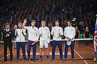 Gent, Belgium, November 27, 2015, Davis Cup Final, Belgium-Great Britain, Team presentation,  The British team Andy Murray waves to the crowd<br /> Photo: Tennisimages/Henk Koster