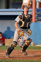 Connecticut Tigers catcher Eric Roof (50) during a game vs. the Batavia Muckdogs at Dwyer Stadium in Batavia, New York July 8, 2010.   Connecticut defeated Batavia 4-2 in extra innings.  Photo By Mike Janes/Four Seam Images