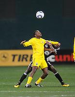 Columbus Crew midfielder Emmanuel Ekpo (17) shields the ball against DC United midfielder Clyde Simms (19)    DC United defeated The Columbus Crew  3-1 at the home season opener, at RFK Stadium, Saturday March 19, 2011.