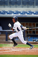 GCL Rays outfielder Jaime Ayende (1) at bat during the second game of a doubleheader against the GCL Red Sox on August 4, 2015 at Charlotte Sports Park in Port Charlotte, Florida.  GCL Red Sox defeated the GCL Rays 2-1.  (Mike Janes/Four Seam Images)