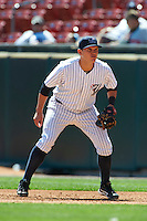 Empire State Yankees first baseman Brandon Laird #8 during an International League game against the Buffalo Bisons at Coca-Cola Field on August 21, 2012 in Buffalo, New York.  Empire State, who was the home team because of stadium renovations, defeated Buffalo 4-2.  (Mike Janes/Four Seam Images)