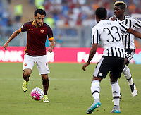 Calcio, Serie A: Roma vs Juventus. Roma, stadio Olimpico, 30 agosto 2015.<br /> Roma's Mohamed Salah, left, is challenged by Juventus' Patrice Evra, second from left, and Paul Pogba, during the Italian Serie A football match between Roma and Juventus at Rome's Olympic stadium, 30 August 2015.<br /> UPDATE IMAGES PRESS/Riccardo De Luca