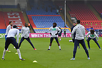 Crystal Palace players warm up before the Premier League behind closed doors match between Crystal Palace and Fulham at Selhurst Park, London, England on 28 February 2021. Photo by Vince Mignott / PRiME Media Images.