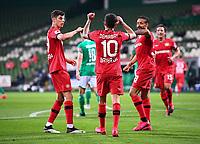 18th May 2020, WESERSTADION, Bremen, Germany; Bundesliga football, Werder Bremen versus Bayer Leverkusen;  Goal celebration for 1:4 from scorer Kerem Demirbay (Leverkusen) with Kai Havertz (Leverkusen) and Karim Bellarabi (Leverkusen)