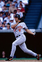 Cal Ripken of the Baltimore Orioles plays in a baseball game at Edison International Field during the 1998 season in Anaheim, California. (Larry Goren/Four Seam Images)