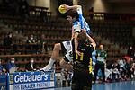 Tobias Ellebaek (FAG) im Zweikampf mit Adam Loenn (TVB) beim Spiel in der Handball Bundesliga, Frisch Auf Goeppingen - TVB 1898 Stuttgart.<br /> <br /> Foto © PIX-Sportfotos *** Foto ist honorarpflichtig! *** Auf Anfrage in hoeherer Qualitaet/Aufloesung. Belegexemplar erbeten. Veroeffentlichung ausschliesslich fuer journalistisch-publizistische Zwecke. For editorial use only.