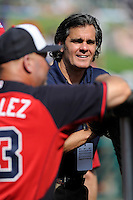 Atlanta Braves broadcaster Chip Carey at the batting cage prior to a Spring Training game against the New York Yankees on Wednesday, March 18, 2015, at Champion Stadium at the ESPN Wide World of Sports Complex in Lake Buena Vista, Florida. The Yankees won, 12-5. (Tom Priddy/Four Seam Images)