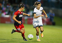 Boyds, MD - Saturday May 07, 2016: Washington Spirit defender Ali Krieger (11) and Portland Thorns FC midfielder Tobin Heath (17) go for the ball during a regular season National Women's Soccer League (NWSL) match at Maureen Hendricks Field, Maryland SoccerPlex. Washington Spirit tied the Portland Thorns 0-0.