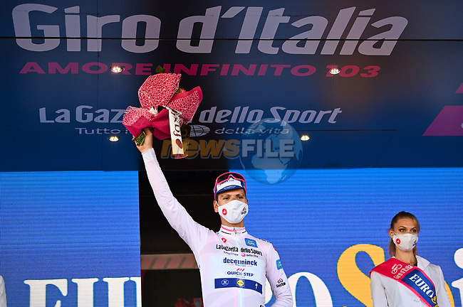 Race leader Joao Almeida (POR) Deceuninck-Quick Step also retains the young riders Maglia Bianca at the end of Stage 8 of the 103rd edition of the Giro d'Italia 2020 running 200km from Giovinazzo to Vieste, Sicily, Italy. 10th October 2020.  <br /> Picture: LaPresse/Massimo Paolone | Cyclefile<br /> <br /> All photos usage must carry mandatory copyright credit (© Cyclefile | LaPresse/Massimo Paolone)