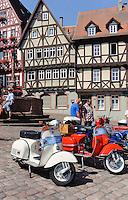 Vespa-Treffen am Marktplatz (Schnatterloch)  in Miltenberg in Unterfranken, Bayern, Deutschland