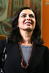 Italian President of the Chamber of Deputies Laura Boldrini attends a meeting at the Festival of Economics, in Trento, on May 31, 2013.  <br /> <br /> <br /> <br /> © Pierre Teyssot