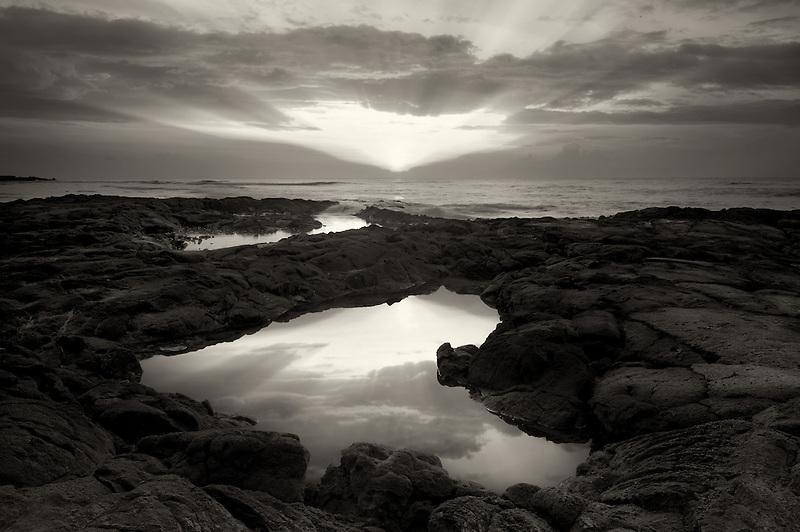 Sunrise and tidepool. Hawaii, The Big Island.