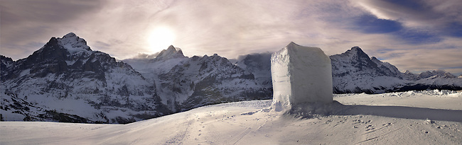 Winter Snow in the mountains near Grindelwald First - Swiss Alps - Switzerland