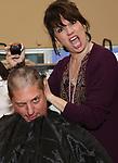 Christopher Sieber's Daddy Warbucks buzz cut