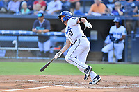 Asheville Tourists Matt Barefoot (12) swings at a pitch during a game against the Greenville Drive on July 14, 2021 at McCormick Field in Asheville, NC. (Tony Farlow/Four Seam Images)
