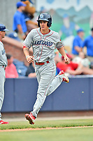 Lakewood BlueClaws center fielder Mickey Moniak (22) runs out a fly ball during a game against the Beer City Tourists at McCormick Field on June 1, 2017 in Asheville, North Carolina. The Tourists defeated the BlueClaws 8-5. (Tony Farlow/Four Seam Images)