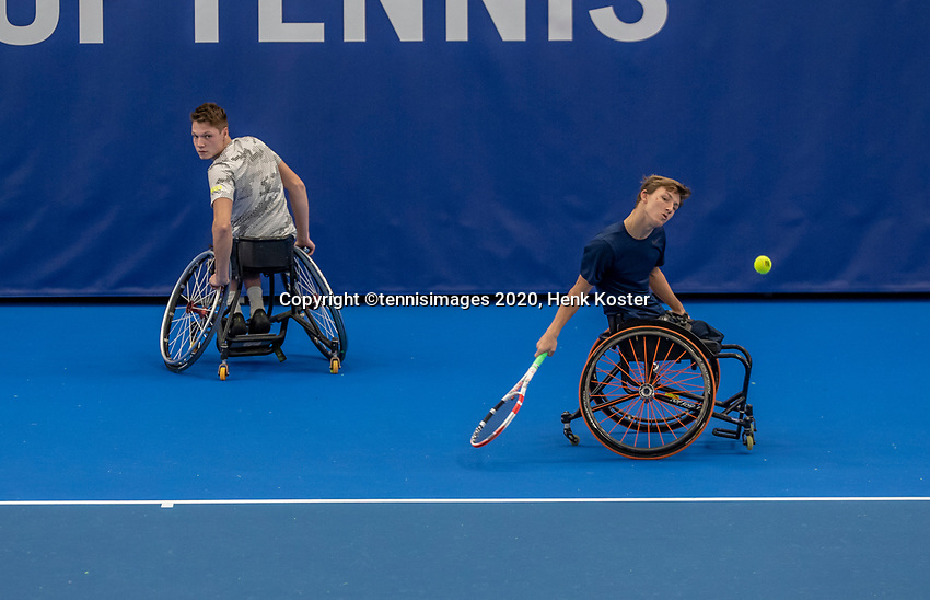 Amstelveen, Netherlands, 12  December, 2020, National Tennis Center, NTC, NKR, National   Indoor Wheelchair Tennis Championships, Men's Doubles Final : Tom Ruben Spaargaren (NED) and Niels Vink (NED)<br /> <br /> Photo: Henk Koster/tennisimages.com