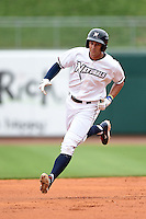 NW Arkansas Naturals outfielder Lane Adams (6) runs the bases after hitting a home run during a game against the Corpus Christi Hooks on May 26, 2014 at Arvest Ballpark in Springdale, Arkansas.  NW Arkansas defeated Corpus Christi 5-3.  (Mike Janes/Four Seam Images)