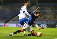 29th October 2020, Ibrox Stadium, Glasgow, Scotland; UEFA Europa League football, group stages; Glasgow Rangers versus Lech Poznan;   Filip Marchwinski of Lech Poznan battles with Connor Goldson of Rangers