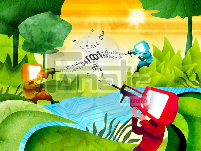 Illustrative representation of online shooting game