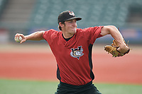 Tri-City ValleyCats pitcher Danny Cody (15) during warmups before a NY-Penn League game against the Brooklyn Cyclones on August 17, 2019 at MCU Park in Brooklyn, New York.  The game was postponed due to inclement weather, Brooklyn defeated Tri-City 2-1 in the continuation of the game on August 18th.  (Mike Janes/Four Seam Images)