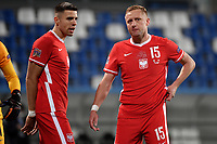 Jan Bednarek and Kamil Glik of Poland during the Uefa Nation League Group Stage A1 football match between Italy and Poland at Citta del Tricolore Stadium in Reggio Emilia (Italy), November, 15, 2020. Photo Andrea Staccioli / Insidefoto