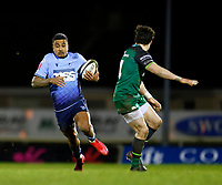 20th February 2021; Galway Sportsgrounds, Galway, Connacht, Ireland; Guinness Pro 14 Rugby, Connacht versus Cardiff Blues; Rey Lee-Lo (Cardiff Blues) looks to get past Alex Wootton (Connacht)
