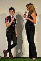 Fashion designer Christian Siriano and Summer Sanders talk during the unveiling of the Women's Professional Soccer uniforms at the Event Place in Manhattan, NY, on February 24, 2009. Photo by Howard C. Smith/isiphotos.com