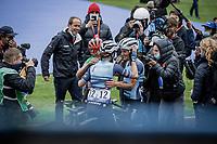 """Lizzie"" Elizabeth Deignan (GBR/Trek Segafredo) solo's to an incredible Roubaix win.  Congratulated by her teammates.<br /> <br /> Inaugral Paris-Roubaix Femmes 2021 (1.WWT)<br /> One day race from Denain to Roubaix (FRA) (116.4km)<br /> <br /> ©kramon"