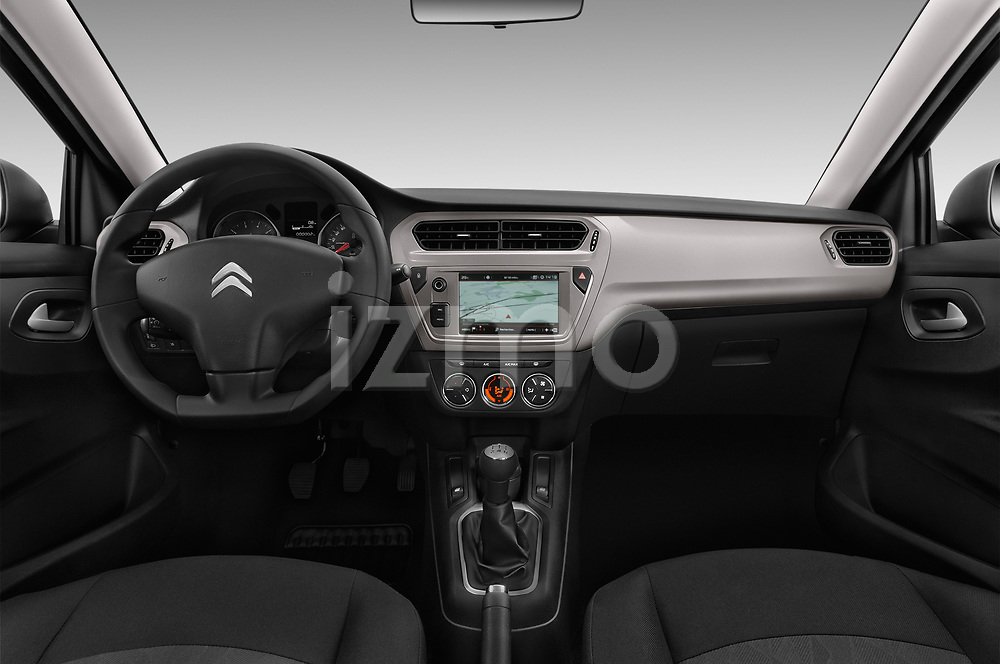Stock photo of straight dashboard view of a 2017 Citroen C-Elysee Live 4 Door Sedan